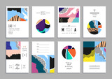 Collection of artistic cards with abstract shapes and hand made textures
