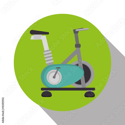 Poster spinning bike machine isolated icon vector illustration design