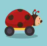 ladybug with wheels icon vector illustration design