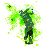 Colored vector silhouette of a golfer