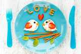 Love birds pancakes - romantic breakfast on Valentines Day