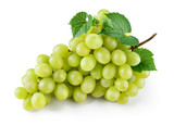 Green grape with leaves isolated on white. With clipping path. F - 133025567