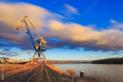 Poster Crane in Harbour on river Danube, Bratislava city, Slovakia
