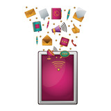 Tablet and media icon. Device gadget technology and electronic theme. Isolated design. Vector illustration