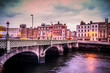 Historic Grattan Bridge over the River Liffey in Dublin Ireland at sunset - 133029177