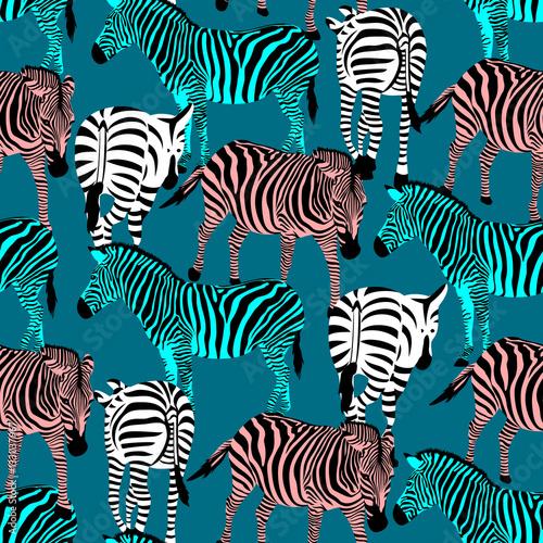 Materiał do szycia Zebra kolorowy wzór. Zwierzęta sawanny ornament. Dzikie zwierzęta tekstury. Czarne paski i kolory. projekt tekstura tkanina modny, ilustracja wektorowa.