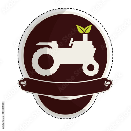 Poster tractor farm emblem icon image vector illustration design