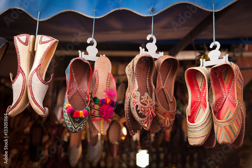 Poster Colorful Shoes In An Indian Bazar