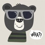 cool cartoon bear with sunglasses