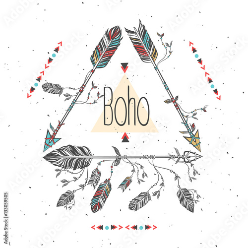 tribal-frame-with-arrows-and-feathers-ethnic-feathers-boho-style-vector-illustration