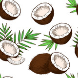 Fototapety Coconuts, tropical leaves . Vector seamless pattern