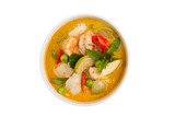 delicious thai food: green curry in a white bowl - 133069570