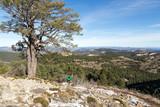 Löpare springer på ett högt berg med vacker utsikt