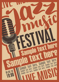 Poster for the jazz music festival with a retro microphone