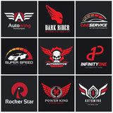 logo collection set automotive skull rock wing warrior sound bike motorcycle motorbike t shirt tattoo fox lion eagle animal crest crests