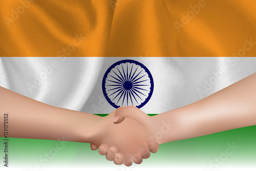 Poster インド  国旗 手 握手