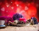 spa massage setting, lavender product, oil on wooden background, Valentine day background,  - 133076196