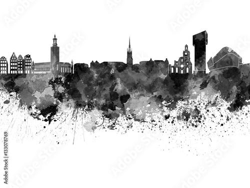 Poster Stockholm skyline in black watercolor