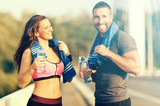 Happy Couple Exercising
