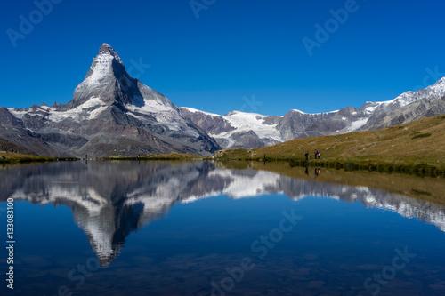 Poster Matterhorn peak with reflection at Stellisee lake