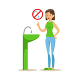 Woman Showing Not To Vaste Water , Contributing Into Environment Preservation By Using Eco-Friendly Ways Illustration