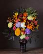 Autumn bouquet  on a dark background.