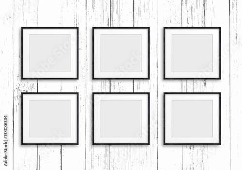 Group of six black frames on painted wooden panels background, Gallery style des Poster