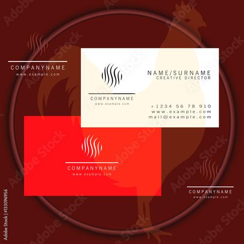 round grass business card logo