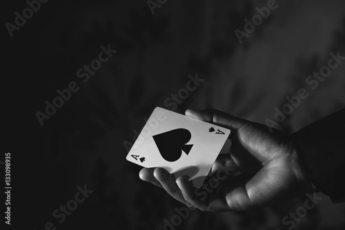 Poster Ace Spade Card in Hand, Black and White Color