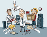 A cartoon office worker surrounded by confusion in the office.