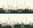 Horizontal wide banners with morning big city.