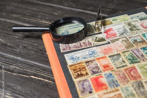 Zdjęcia stamp collecting. Philatelic. Different brands in the album for