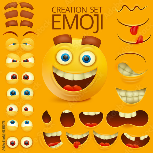 yellow smiley face character for your scenes template emotion big