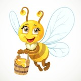Cute bee flies with wooden bucket full of honey isolated on a wh