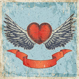 Hand drawn vector colored sketch illustration - creative vintage valentines day love card design, heart with banner and wings, grunge paper blue background.