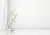 Neutral interior mock up with plant in vase on empty white wall background. 3D rendering.