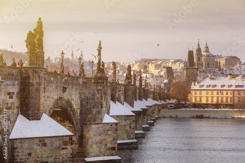 Poster PRAGUE, CZECH REPUBLIC - JAN 11, 2017: Prague castle and Charles bridge over Moldau river, Lesser town district in Prague, Czech republic