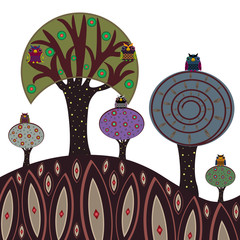 Vector set of a colorful owls on the trees