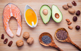 Selection food sources of omega 3 and unsaturated fats. Super fo - 133136361