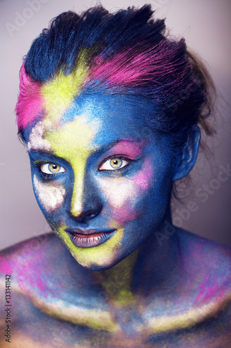 Poster beauty woman with creative make up like Holy celebration in Indi