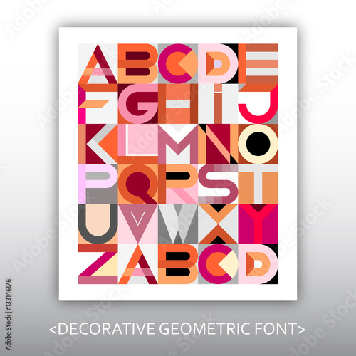 Foto op Canvas Abstractie Art Decorative Geometric Vector Font