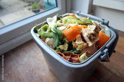 Sticker Container of domestic food waste, ready to be collected by the r