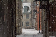 Dead-end in Old-Montreal in winter under the snow. Montreal is the capital city of Quebec, in Canada