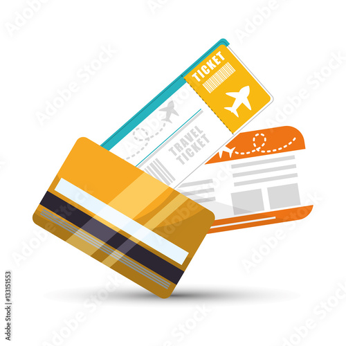Poster travel credit card ticket plane graphic vector illustration eps 10