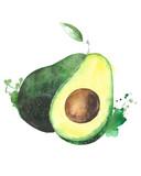 Avocado fruit watercolor food illustration isolated on white background - 133153980