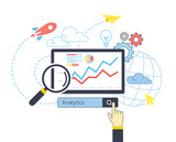 Flat design of analytic search information website SEO optimization - 133155933