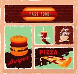Vintage fast food vector banner set