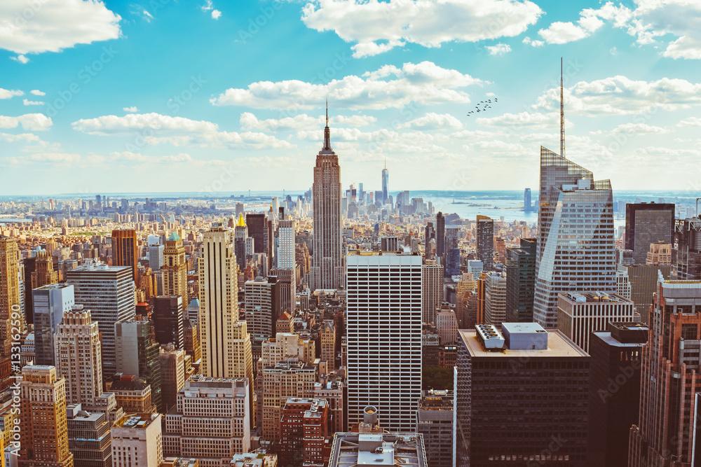 fototapeten new york city taken from helicopter nikkel. Black Bedroom Furniture Sets. Home Design Ideas
