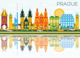 Fototapety Prague Skyline with Color Buildings, Blue Sky and Reflections.