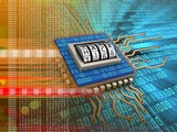 3d illustration of electronic board over digital background with code dial and binary code inside